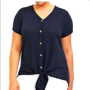 Torrid navy blue waffle knit tie front midi tee